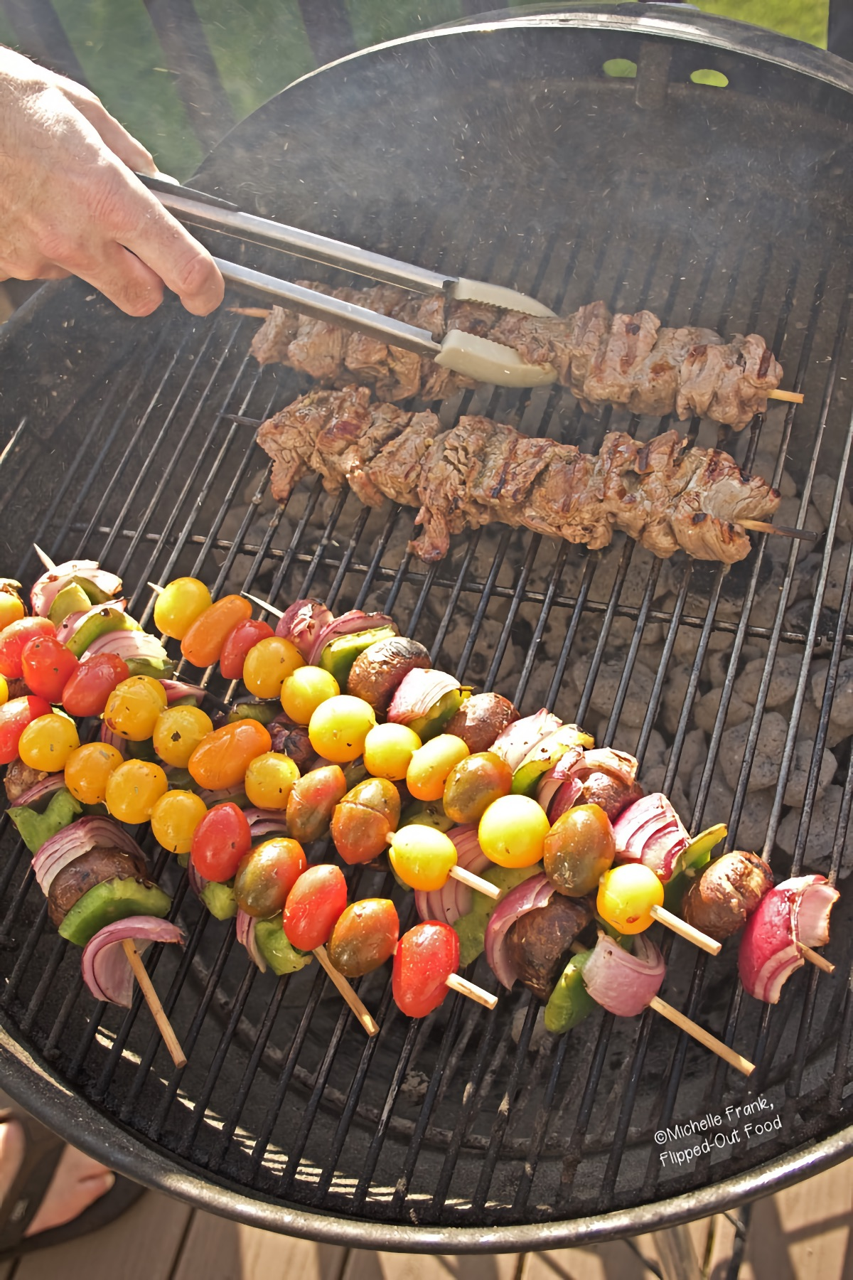 Marinated Beef Kebabs with Vegetables on the grill.