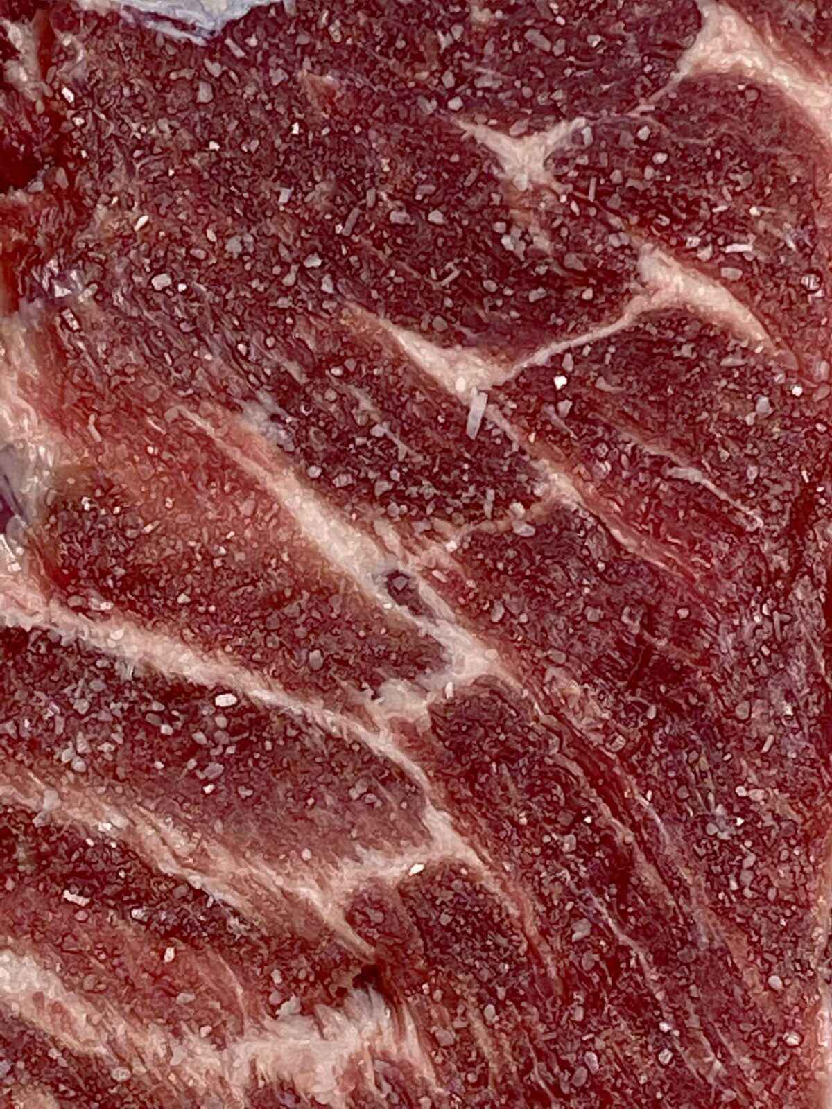 Close up image of salt coverage on the rack of ribs during the dry brine stage.