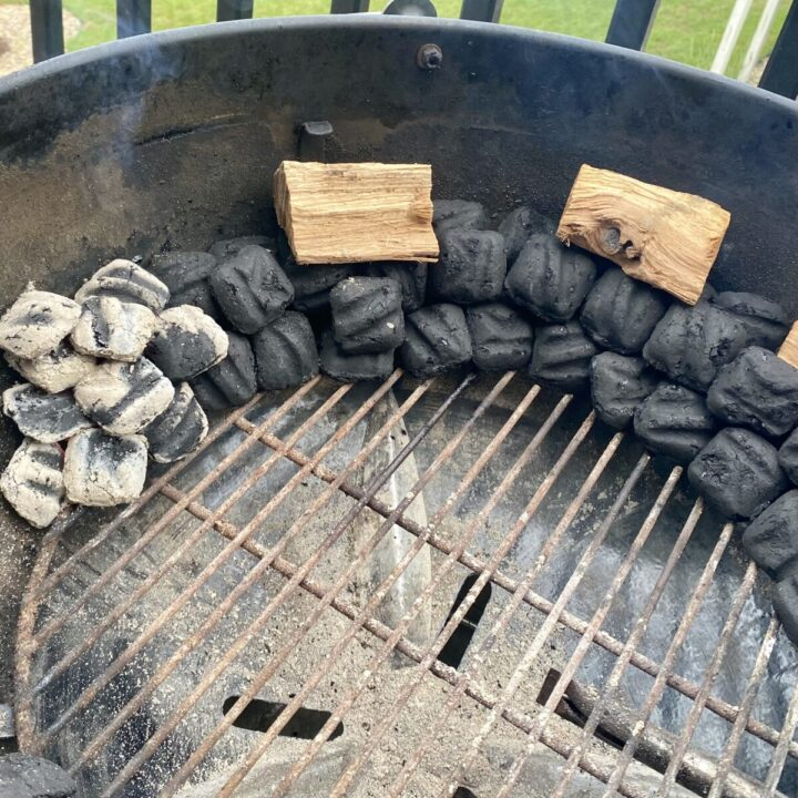 Charcoal and smoke wood set necessary to smoke on a charcoal grill