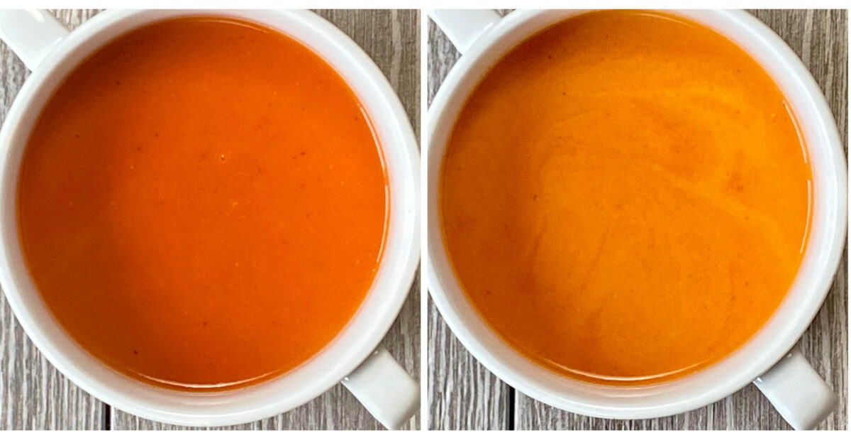 Both bowls of tomato soup shown here have ricotta cheese that was added to the bowl right before ladling in the fresh tomato soup. The bowl on the left is before stirring, and the bowl on the right shows the creamy soup after stirring.