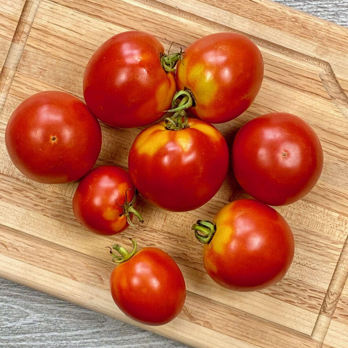 Top view of garden tomatoes on a cutting board that will soon used to make fresh tomato soup.